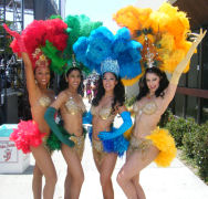 Amanda's Samba Dancers do Samba shows for festivals, seen at the Oxnard Salsa Festival in this picture.
